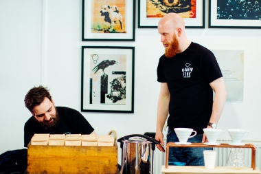 Damn Fine Coffee lads in front of The Dust on the Dust on the Moth artwork during Nottm Creative Fringe -Photo by Zac Pickin